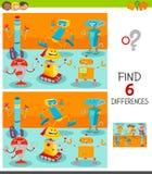 Verschillenspel met gelukkige beeldverhaalrobots vector illustratie
