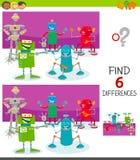 Verschillenspel met grappige beeldverhaalrobots stock illustratie