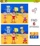 Verschillenspel met grappige beeldverhaalrobots royalty-vrije illustratie