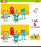 Verschillenspel met leuke beeldverhaalrobots stock illustratie