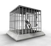 Verschlossener Gefängniskäfig mit Schwermetallstangen Stockbild