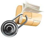 Verschlossener Stahlordner mit Dokumenten Stockfoto