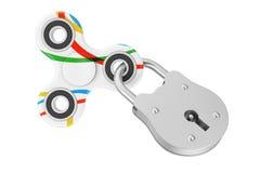 Verschlossener Unruhe-Finger-Spinner-Antistress Spielzeug Wiedergabe 3d Stockbilder