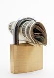 Verschlossenes Geld - finanzielle Sicherheit lizenzfreies stockfoto