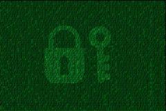 Verschlüsselter digitaler Verschluss und Schlüssel mit grünem binär Code Stockfoto