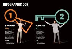 Verschluss und Schlüssel Infographic Lizenzfreies Stockbild
