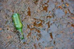 Verschmutzung environement, alte grüne Flasche in einem Schlamm poel Stockbilder