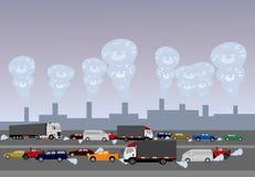 Verschmutzung verursacht durch Autos auf Straßen und industriellem plantsภ¡ stock abbildung