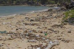 Verschmutzung von Küstenökosystemen, natürlicher Plastik Lizenzfreies Stockfoto