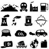 Verschmutzungs- und Umweltikonen Stockbild