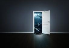 Verschrikking achter de deur vector illustratie