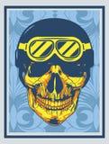 Verschrikkings hoofdschedel met blauwhelm op blauwe bloemenachtergrond royalty-vrije illustratie