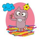 Verschrikkings leuke kleurrijk met vriend stock illustratie