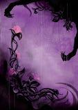 Verschrikkingsachtergrond met grungebloemen en een spinneweb royalty-vrije illustratie