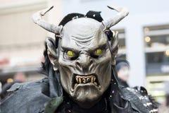 Verschrikkingsmasker met hoornen en hoektand in Carnaval royalty-vrije stock afbeelding
