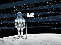 Verschwörungstheorie Astronaut mit unerkennbarer Flagge auf Mondoberfläche stock abbildung