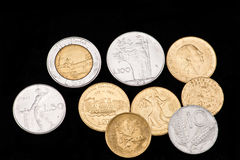 Verschwundene MünzeItalien Lira Stockbilder