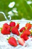 Verse aardbeien op een uitstekend houten dienblad Royalty-vrije Stock Afbeelding