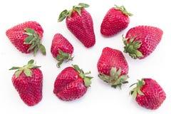Verse aardbeien op een witte achtergrond Stock Afbeelding