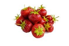 Verse aardbeien op een witte achtergrond Royalty-vrije Stock Afbeeldingen