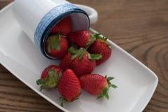 Verse aardbeien op witte rechthoekige plaat Royalty-vrije Stock Foto