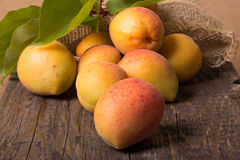 Verse abrikozen met blad Royalty-vrije Stock Afbeelding