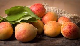 Verse abrikozen met blad Royalty-vrije Stock Afbeeldingen