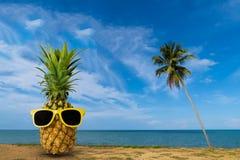 Verse ananas op het strand, Manier hipster ananas, Heldere de zomerkleur, Tropisch fruit met zonnebril Stock Afbeeldingen
