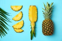 Verse ananassen op kleurenachtergrond stock foto