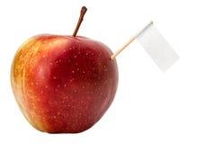 Verse appel met een teken royalty-vrije stock fotografie