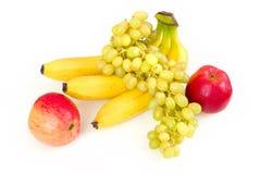 Verse appelen, druif en bananen Royalty-vrije Stock Foto's