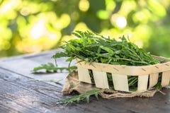 Verse arugulabladeren op houten kom, rucola Arugularucola voor salade royalty-vrije stock fotografie