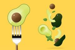 Verse avocado op vork met vliegende avocado'sachtergrond, gezond voedselconcept stock illustratie