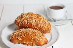 Verse bakkerij en hete thee Royalty-vrije Stock Afbeelding
