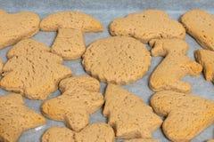 Verse bakselkoekjes van verschillende vormen op een close-up van het bakselblad stock fotografie