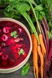 Verse bietensoep met groenten en bollen stock fotografie