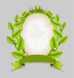 Verse bladerenkroon met gouden versiering Royalty-vrije Stock Afbeelding
