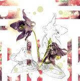 Verse bloem met potloodcontour en waterverf op witte achtergrond voor uitnodigingsontwerp Royalty-vrije Stock Afbeeldingen