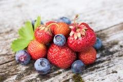 Verse bosbessen en aardbeien - gezonde voeding Stock Afbeeldingen