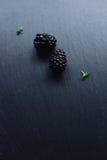 Verse braambessen op zwarte Stock Foto