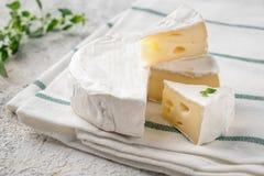 Verse Brie Italiaanse antipastisnacks Franse camembertkaas royalty-vrije stock foto