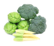 Verse Broccoli, jonge kegel en Mara Thai Stock Foto's