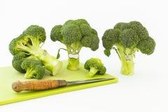 Verse broccoli met de doen schrikken gezichten van de beeldverhaalstijl op witte backgrou Stock Fotografie