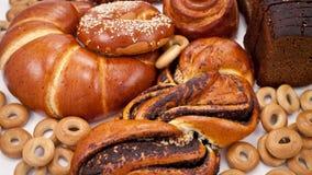 Verse brood en bakkerijen stock video