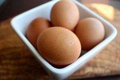 Verse bruine eieren in een vierkante kom Stock Afbeelding