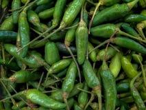 Verse Cayennepeper of Groene paprika bij supermarkt royalty-vrije stock foto