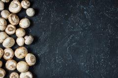 Verse champignonpaddestoelen op donkere achtergrond, hoogste mening met exemplaarruimte Stock Foto's
