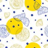 Verse citroenenachtergrond, naadloze patroonhand getrokken vector stock illustratie