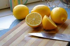 Verse citroenplakken in landschap wijd Stock Afbeeldingen