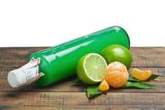Verse citrusvruchten en een fles sap Royalty-vrije Stock Afbeelding